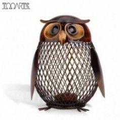 Tooarts Piggy Bank Money Box Owl Metal Piggy Coin Bank Money Saving Box Home Decoration Figurines Craft Christmas Gift For Kids