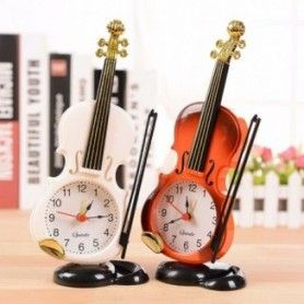 2020 New 2 Colors Creative Instrument Table Clock Student Violin Gift Home Decor Fiddle Quartz Alarm Clock Desk Plastic Craft