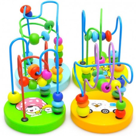 Boys Girls montessori Wooden Toys Wooden Circles Bead Wire Maze Roller Coaster Educational Wood Puzzles Kid Toy - 1