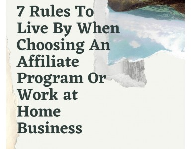 7 Rules To Live By When Choosing An Affiliate Program Or Work at Home Business